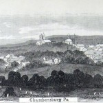 A sketch of Chambersburg, Pennsylvania shows the town sprawling out among the nearby hills (George Law, artist; Frank Leslie's Illustrated Newspaper, July 11, 1863, courtesy of Princeton University Library)