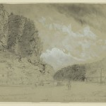 One of the locks of the Chesapeake and Ohio Canal, opposite Harpers Ferry and below Maryland Heights, sketched in 1864 by Alfred Waud (Library of Congress)