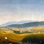 """""""A Fateful Turn"""" by Captain James Hope, a participant in the battle, showing Union troops advancing on the Sunken Road on the right, and the burning Mumma property on the left (James Hope, artist, painted by 1892; Antietam National Battlefield)"""