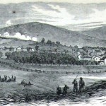 The battle on South Mountain, at Turner's Gap, as seen from Boonsboro in Washington County (Harper's Weekly, October 25, 1862; A.R. Waud, artist; NPS History Collection)