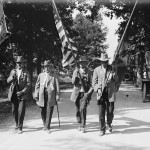 Confederate and Union veterans march together during the 50th anniversary commemoration of the Gettysburg battle (Library of Congress)