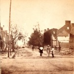 Main Street in Chambersburg, looking west, after the fire of July 30, 1864 (Library of Congress)