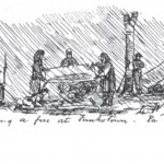 Soldiers of the 22nd New York try to start a fire in the rain while encamped in Mont Alto, PA, in 1863 (George W. Wingate, History of the Twenty-Second Regiment of the National Guard of the State of New York: From its Organization to 1895 [New York: Edwin W. Dayton, 1896], 292)