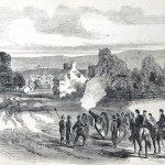 Union artillery firing across the Monocacy River at Confederate soldiers near Frederick, MD (F.H. Schell, artist; Frank Leslies Illustrated News, October 4, 1862; courtesy of Princeton University Library)