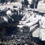 Union and Confederate veterans of the Battle of Gettysburg symbolically shake hands during the 50th anniversary commemoration of the battle (Pennsylvania State Archives)