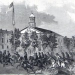 Confederate cavalry dashing through Chambersburg with sabers drawn (George Law, artist; Frank Leslie's Illustrated Newspaper, July 11, 1863; courtesy of Princeton University Library)