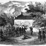 Another view of Marines breaking down the gates of the engine house (Frank Leslies Illustrated Newspaper, October 29, 1859; Library of Congress)