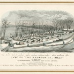 Lithographs of various Union encampments were depicted on oversized envelopes issued by the L.N. Rosenthal Lithographic Company of Philadelphia, including this one of Camp Hicks of the 12th Massachusetts, near Frederick (Library Company of Philadelphia)