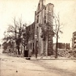The northwest corner of the public square in Chambersburg after the destruction of the town on July 30, 1864 (Library of Congress)