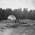 Dead men and a horse rest in front of the damaged Dunker Church (September 1862, Alexander Gardner, photographer; Library of Congress)