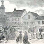 Union General John Kenly's brigade of Maryland soldiers marches through Hagerstown toward the Potomac River after the Battle of Antietam (Theodore R. Davis, artist; Harper's Weekly, October 11, 1862; NPS History Collection)