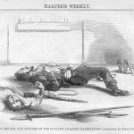 John Brown and his son lying wounded after the raid (Harpers Weekly, November 5, 1859; Courtesy of Timothy R. Snyder)