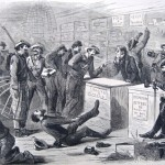 """Confederate troops """"shop"""" in a store in Pennsylvania, exchanging bills of Confederate currency for liquor, cigars, boots, and other items (New York Illustrated Newspaper, July 18, 1863; courtesy of Princeton University Library)"""