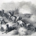 Federal artillery being fired upon at the Battle of South Mountain (Frank Leslie's Illustrated Newspaper, December 20, 1862; courtesy of Princeton University Library)
