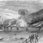 The destruction of the Harpers Ferry railroad bridge by Confederate troops before they evacuated the town on June 14, 1861 (Harpers Weekly, July 6, 1861; Library of Congress)