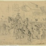 General George B. McClellan passing through Frederick City, MD at the head of the Army of the Potomac in pursuit of General Lee, sketched September 12, 1862 by Edwin Forbes (Library of Congress)