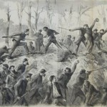 Union forces driving the Confederates from the South Mountain ridge north of Turner's Gap (The New York Illustrated News, October 4, 1862; A. Lumley, artist; courtesy of Princeton University Library)