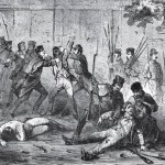 Marines removing the prisoners from the engine house (The Life, Trial and Execution of Captain John Brown [New York: Robert M. DeWitt, 1859], after p.28)