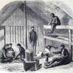 """""""Interior of a Log Cabin of the Twelfth Massachusetts Regiment, near Frederick City."""" (James Forsyth, artist; The New-York Illustrated News, February 22, 1862; courtesy of Princeton University Library)"""