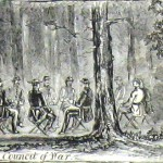 Council of war between the Union commanders before the Battle of Falling Waters (Harper's Weekly, July 27, 1861; NPS History Collection)