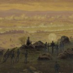 Union artillerymen on Little Round Top fire at the Confederates below (July 3, 1863, Edwin Forbes, artist; Library of Congress)