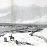 At the far left of this sketch is one of the fords used by the Confederate forces heading back to Virginia after the Battle of Antietam; a Union battery is shown preparing to fire while at the right sits the town of Williamsport (A. Lumley, artist; The New-York Illustrated News, October 11, 1862; courtesy of Princeton University Library)