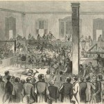 Interior of the courtroom in Charlestown during John Browns trial for treason and murder (Harpers Weekly, Nov. 12, 1859; Library of Congress)