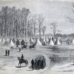 Camp of the 13th Massachusetts at Williamsport, Maryland (Cpl. H. Bacon, artist; The New-York Illustrated News, March 8, 1862; courtesy of Princeton University Library)