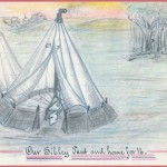 An illustration of one of the Sibley tents of the 13th Massachusetts while encamped near Williamsport; artist was Charles Roundy of Company F of the regiment (Courtesy of Brad Forbush, http://www.13thmass.org/)