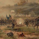 Union soldiers advance during the Battle of Antietam in this lithograph by L. Prang & Co., 1887 (Library of Congress)