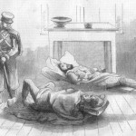 The guard room with two wounded prisoners (Harpers Weekly, November 5, 1859; Courtesy of Timothy R. Snyder)