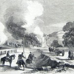 Confederate General J.E.B. Stuart's soldiers burning the bridge across Catoctin Creek, and the property of Adam Koogle, on the National Road west of Middletown (Frank Leslie's Illustrated Newspaper, October 4, 1862; F.H. Schell, artist; courtesy of Princeton University Library)
