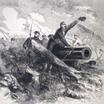 Capture of a Confederate cannon by Federal forces under Colonel John W. Geary on Bolivar Heights in a battle on October 16, 1861 (M. Wilson, artist; The New-York Illustrated News, October 28, 1861; courtesy of Princeton University Library)