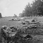 A group of Confederate dead gathered for burial at the edge of the Rose woods (July 5, 1863, Alexander Gardner, photographer; Library of Congress)