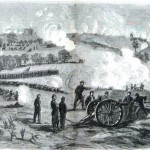 Union soldiers and artillery near the center of the Union position, with the town of Gettysburg and the gatehouse of the Evergreen Cemetery visible in the distance (Alfred R. Waud, artist; Harpers Weekly, July 25, 1863; NPS History Collection)