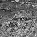 Confederate soldiers lie dead near a pile of wooden boards in the proximity of Sherrick's house (September 1862, Alexander Gardner, photographer; Library of Congress)