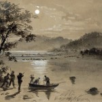 Union scouts watch as the Confederates wade the Potomac (Alfred R. Waud, artist; Library of Congress)