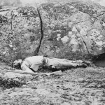 A Confederate sharpshooter killed by a shell (July 1863, James F. Gibson, photographer; Library of Congress)