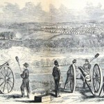 Union artillery attacking Confederate forces opposite Edward's Ferry, October 22, 1861 (Frank Leslie's Illustrated Newspaper, November 16, 1861; NPS History Collection)