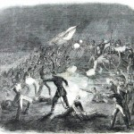 Confederate Louisiana Tigers charge a Union battery on the second day of the battle (Harpers Weekly, August 8, 1863; NPS History Collection)