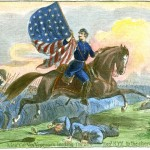Colonel Ernst von Vegesack leading the 20th New York Regiment in a charge during the Battle of Antietam (Alfred Waud, artist; Antietam National Battlefield; an uncolorized version appeared in Harper's Weekly, October 25, 1862)