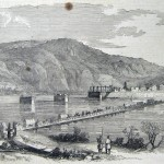 A Union pontoon bridge stretches across the Potomac River and into Harpers Ferry in February 1862 (C. S. Hall, artist; Frank Leslies Illustrated Newspaper, March 22, 1862; courtesy of Princeton University Library)