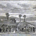 Federal forces advance at the Battle of Falling Waters on July 2, 1861 (Harper's Weekly, July 27, 1861; NPS History Collection)