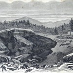 "A sketch of ""Devils Den"" (Joseph E. Shuery, artist; Frank Leslie's Illustrated Newspaper, August 22, 1863; Courtesy of Princeton University Library)"