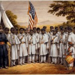 This colored print, based off a photograph, features African American soldiers from the 25th U.S. Colored Troops Infantry standing with a white officer at Camp William Penn, near Philadelphia; the print was also used as a recruiting poster (P.S. Duval & Son, artist; Library Company of Philadelphia)