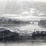 A ferry near Williamsport was used to carry wagons and supplies across the Potomac (C.E.H. Bonwill, artist; Frank Leslie's Illustrated Newspaper, August 1, 1863, courtesy of Princeton University Library)