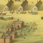 A detailed view of the previous image, focusing on the women working at the regiments camp (Harpers Ferry National Historic Park)