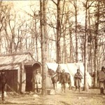 The quarters for some of the officers in the Williamsport camp of the 13th Massachusetts, including Surgeon Allston W. Whitney, shown on the far left (U.S. Army Military History Institute)