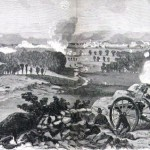 Lieutenant Charles Hazlett's Battery B of the 5th U.S. Regiment fire from Little Round Top on July 2 (Alfred R. Waud, artist; Harper's Weekly, July 25, 1863; NPS History Collection)
