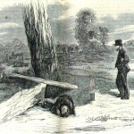 """In a sketch similar to the previous photograph, a civilian described as being """"one of those seedy, shiftless-looking beings"""" observes the resting places of these two warring soldiers (Harper's Weekly, October 18, 1862; NPS Historical Collection)"""